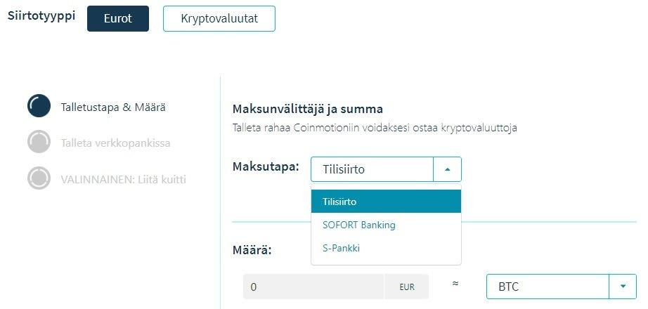 Coinmotion pankkisiirto