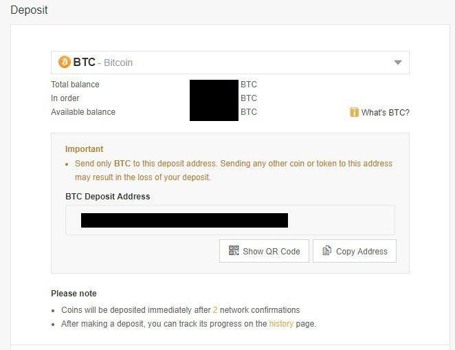 binance talleta bitcoin