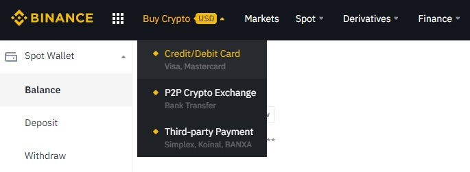 binance deposit debit card