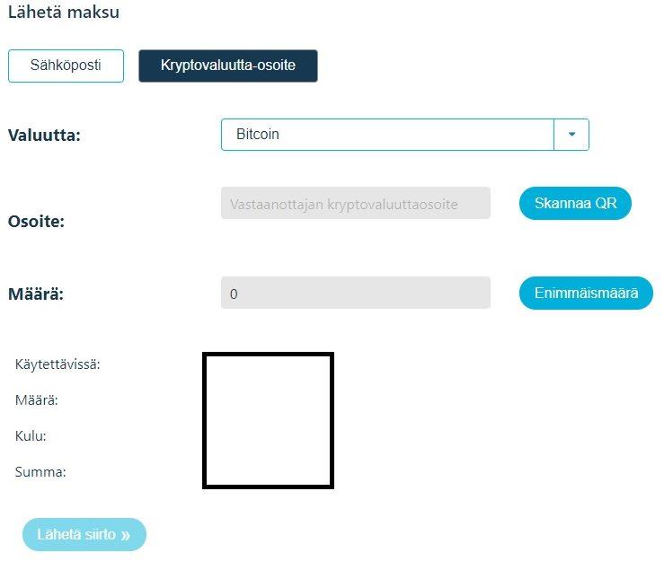 Lähetä bitcoineja