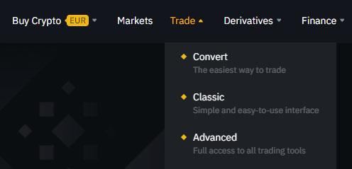 Binance päävalikko trade