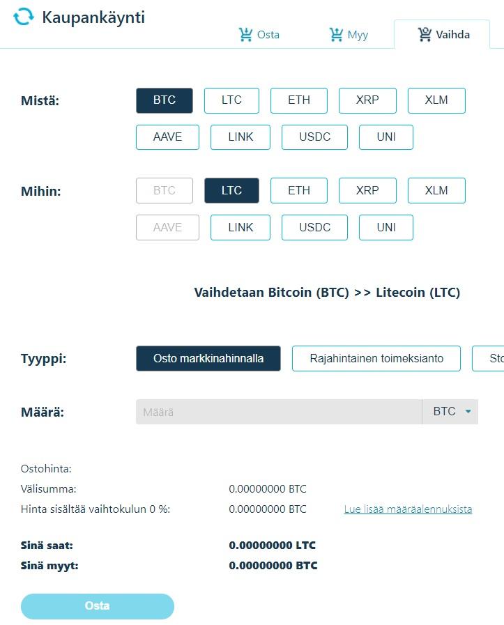 Vaihda kryptovaluuttaa BTC - LTC